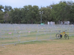 A veritable sea of waiting bike racks, more even than the triathlons along the lake.