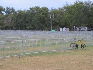 A veritable sea of waiting bike racks, more even than the triathlons along the lake.