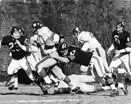 "Business ""as usual"" in the NFL. Bears and Giants at Wrigley Field, Dec. 29, 1963."