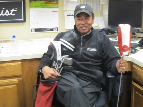 """You can hit it as long as you want,"" says the 2013 champion, ""and they don't give you points for hitting it close."" In his left hand, the pro holds the ceremonial Balander Driver."